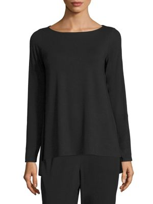 Solid Boatneck Top by Eileen Fisher