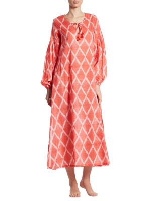 "Image of Boho-chic ikat caftan cast in breezy cotton. Splitneck with tassel ties. Long bishop sleeves. Elasticized cuffs. Side slits. Pullover style. About 52"" from shoulder to hem. Cotton. Machine wash. Imported."