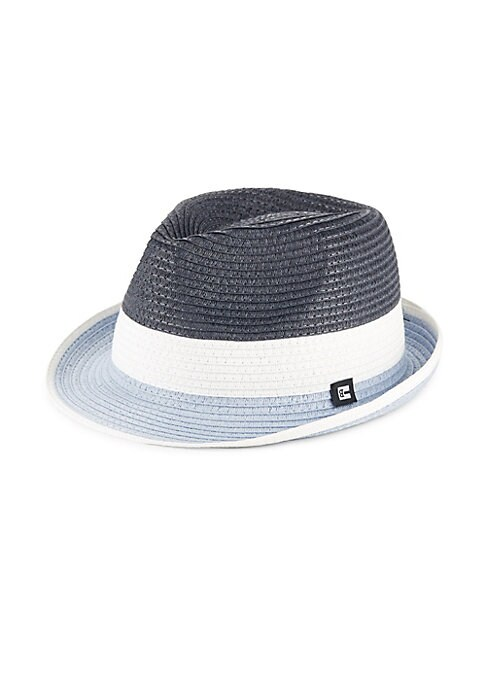 """Image of Braided straw trilby with on-trend colorblock design. Brim, about 2"""".Straw. Spot clean. Imported."""