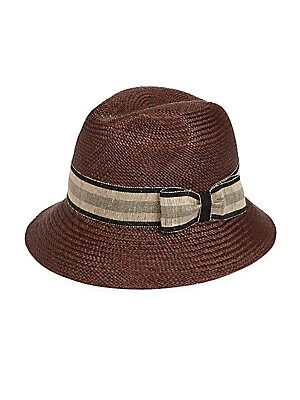 """Image of Woven panama hat updated with a contrast bow accent Brim, about 2"""" Straw Spot clean Made in Italy. Men Accessories - Cold Weather Accessories. Barbisio. Color: Brown. Size: 58 (M)."""