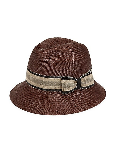 """Image of Woven panama hat updated with a contrast bow accent. Brim, about 2"""".Straw. Spot clean. Made in Italy."""
