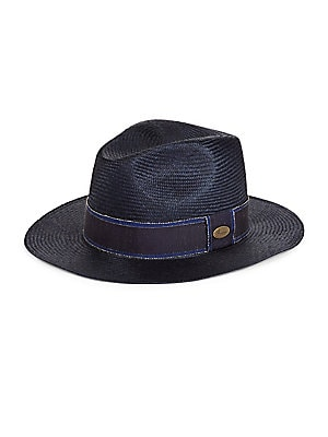 """Image of Natural straw fedora featuring signature logo trim Brim, 2"""" Straw Spot clean Made in Italy. Men Accessories - Cold Weather Accessories. Barbisio. Color: Navy. Size: 58 (M)."""