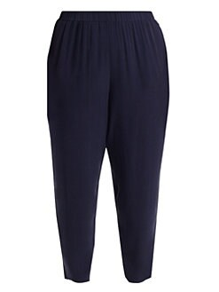 0254563775725c Eileen Fisher, Plus Size - Plus System Slouchy Silk Ankle Pants