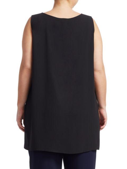 Eileen Fisher, Plus Size System Silk Boatneck Long Shell | SaksFifthAvenue