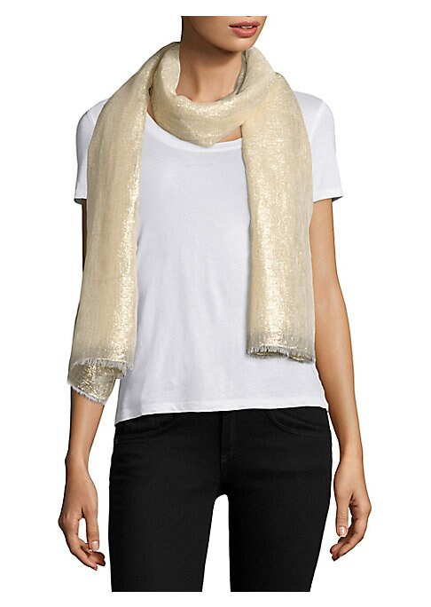 """Image of Frayed lightweight linen scarf with metallic luster.30""""W X 80""""L.Linen/lurex. Dry clean. Imported."""