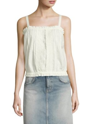 The Lace Cotton Eyelet Tank Top by Current/Elliott