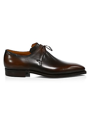Image of Contrast edges are a spirited addition to these point toe leather dress shoes. Leather upper Square toe Lace-up vamp Leather lining and sole Made in Italy. Men's Shoes - Mens Classic Footwear. Corthay. Color: Black. Size: 9.