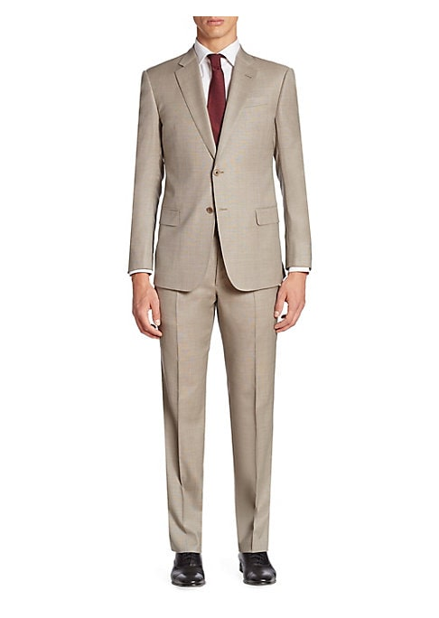 "Image of Complete your dapper profile with this regular-fit suit featuring subtle textures. Virgin wool. Dry Clean. Imported. Jacket. Notch lapels. Front button closure. Long sleeves with button closure. Waist flap pockets. Back vented hems. About 30"" from shoulde"
