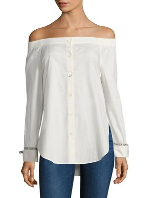 Off-the-Shoulder Long Sleeve Shirt by Tommy Hilfiger Collection