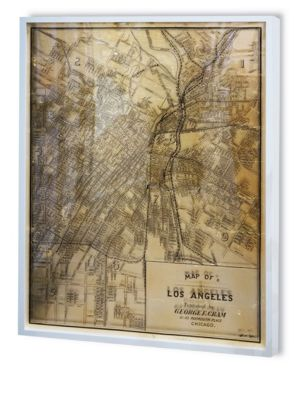 """Image of Inspired by vintage illustrations, this framed piece features the map of Los Angeles from 1899.Includes certificate of authenticity by artist. Reflective metallic art print with 3D effect of map printed on plexiglass.32""""W X 47""""H.Wood/glass. Made in USA."""