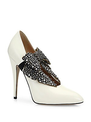 11290e41f462 Gucci - Elaisa Removable Crystal Bow   Leather Point Toe Pumps - saks.com