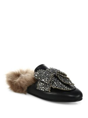 Princetown Shearling-Lined Embellished Leather Slippers, Black