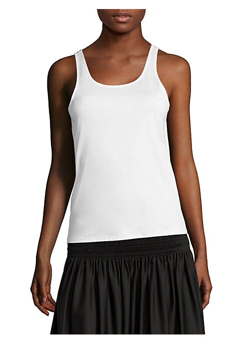 """Image of Casual eye-catching tank made from classic cotton. Roundneck. Sleeveless. Pullover style. About 25"""" from shoulder to hem. Cotton. Dry clean. Made in USA. Model shown is 5'10"""" (177cm) wearing size Small."""