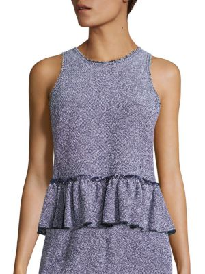 Stretch Tweed Peplum Top by Rebecca Taylor
