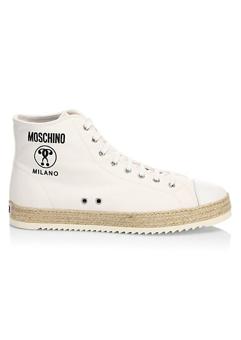 Image of Lace-up design updates these high-top sneakers. Calf leather upper. Round toe. Lace-up closure. Rubber sole. Padded insole. Made in Italy.