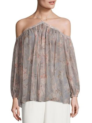 Stranded Cold-Shoulder Silk Top by Zimmermann