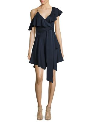 Sueded Asymmetric Wrap Silk Mini Dress by Zimmermann