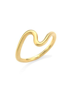 Image of From the BrushstrokeCollection. This simple band features an abstract line of satin-finished 18K yellow gold for a modern take on an age-old design. 18K yellow gold Made in USA. Fine Jewelry - Fine Designer Jewelry C > Saks Fifth Avenue. Carelle. Color: Y