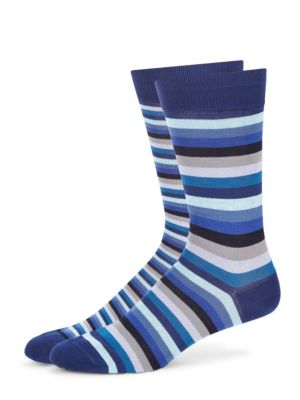 Image of Comfy socks with ribbed cuffs in subtle stripes. Cotton/nylon/spandex. Machine wash. Made in England.