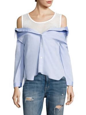 Devlin Layered Cotton & Mesh Top by Sandy Liang