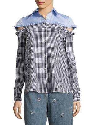 EV Ruffled Cutout Shirt by Sandy Liang