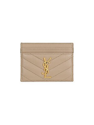 Monogram Matelassé Leather Card Case by Saint Laurent
