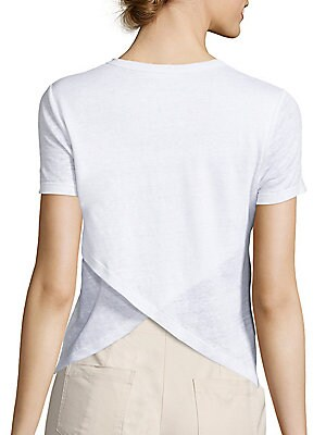 "Image of Crossover back refreshes classic linen tee Banded crewneck Short sleeves Crossover back Pullover style About 25"" from shoulder to hem Linen Machine wash Made in USA of imported fabric Model shown is 5'10"" (177cm) wearing US size Small. Contemporary Sp - W"