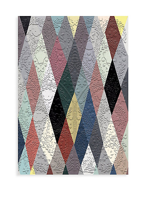 """Image of Paseo-embossed notebook in harlequin motif. Softcover.128 pages. Paper.6""""W x 8""""H.Imported."""