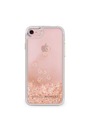 Liquid Glitter Peace Sign Iphone 7 Case in Rose Gold