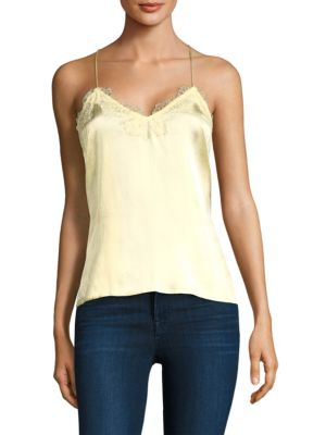 The Racer Lace-Trimmed Silk-Charmeuse Camisole in Pastel Yellow