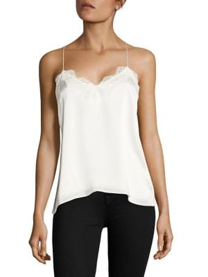 CAMI Racer Silk Charmeuse Camisole in White