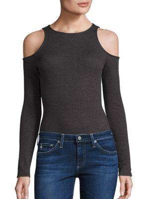 Static Ribbed Cold Shoulder Bodysuit by Twenty Tees