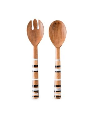 """Image of Rustic salad servers with striped handles. Set of two.11""""L.Marble/resin/acacia wood. Hand wash. Imported."""