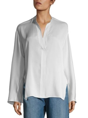 Stand Collar Silk Blouse by Vince