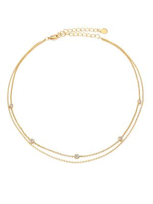 Crimson Chain Choker, Gold/ Clear