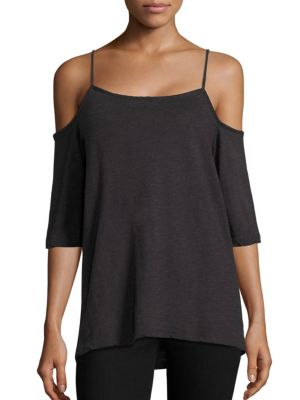 Solid Cold Shoulder Top by MONROW