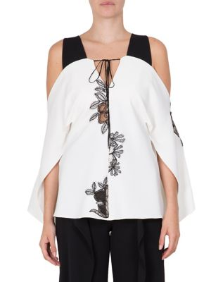 Marcus Printed Cold Shoulder Top by Roland Mouret