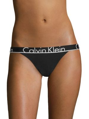 Image of From the ID Cotton Collection. Cheeky cut with repeating iconic Calvin Klein logo. Elasticized logo waist. Cotton/elastane. Machine wash. Imported.