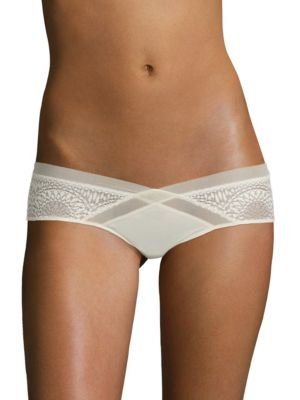 CALVIN KLEIN UNDERWEAR Endless Geometric Lace Hipster in Ivory