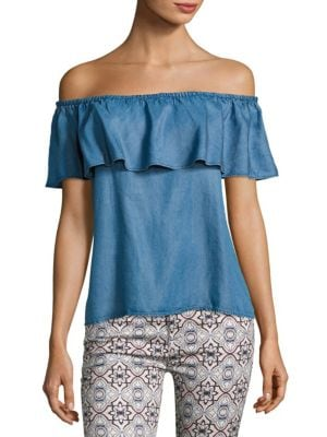 Ruffled Chambray Blouse by 7 For All Mankind