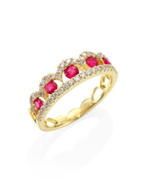 Image of Regal scalloped pave band inset with brilliant ruby. Diamonds, 0.34 tcw. Ruby.14K yellow gold. Imported.