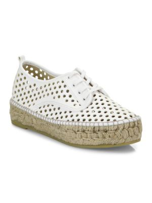 Alfie Perforated Vachetta Leather Espadrille Sneakers, White