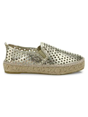 Rowan Perforated Metallic Leather Platform Espadrille Sneakers, Light Gold from BARNEYS WAREHOUSE