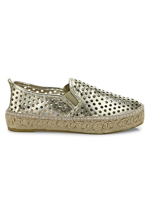 "Image of Perforated metallic skate sneaker on espadrille platform. Espadrille flatform, 2"" (50mm).Metallic leather upper. Round toe. Slip-on style. Leather lining. Rubber sole. Made in Spain."