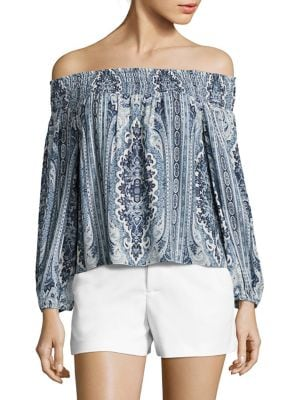 Viola Smocked Off-the-Shoulder Top by Alice + Olivia