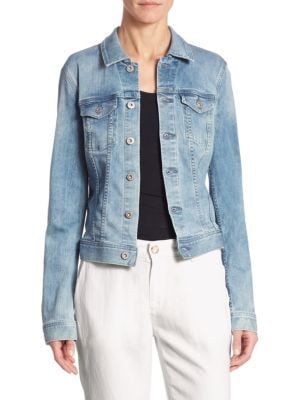 Mya Button-Front Light-Wash Denim Jacket in Blue