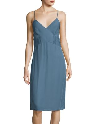 """Image of Airy silk georgette slip with pintuck pleated waist.V-neck. Sleeveless. Spaghetti straps. Pintuck pleats at seamed waist. Scoopback. Pullover style. About 43"""" from shoulder to hem. Silk. Hand wash. Made in USA."""