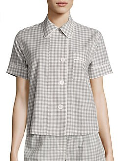 Araks. Shelby Organic Cotton Gingham Pajama Top 892d82e52