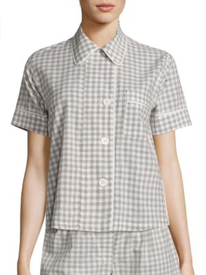 """Image of Gingham pajama top cast in soft organic cotton. Club collar. Short sleeves. Mother-of-pearl button front. Chest patch pocket. Silk chiffon piping. About 22"""" from shoulder to hem. Organic cotton. Contrast: Silk. Machine wash. Made in USA."""