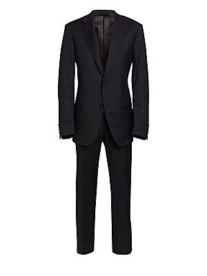 Image of ONLY AT SAKS. Crafted from luxe wool, this two-piece suit featuring solid jacket and matching pants is crafted in a classic-fit silhouette for a timeless look. Wool. Dry clean. Made in Italy. JACKET Notched lapels Long sleeves Front two-button closure But